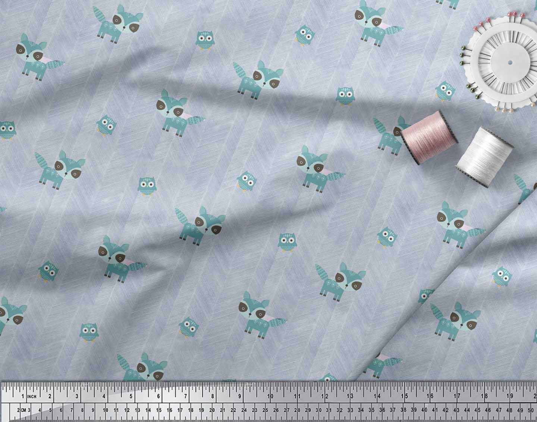 Soimoi-Blue-Cotton-Poplin-Fabric-Fox-amp-Owl-Kids-Fabric-Prints-By-OIN thumbnail 4