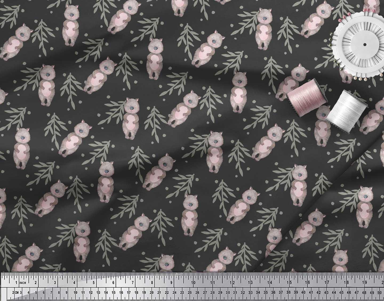 Soimoi-Black-Cotton-Poplin-Fabric-Teddy-Bear-amp-Leaves-Kids-Print-Cmx thumbnail 3