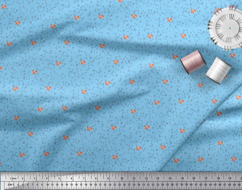 Soimoi-Blue-Cotton-Poplin-Fabric-Fox-amp-Geometric-Kids-Printed-Fabric-kri thumbnail 3