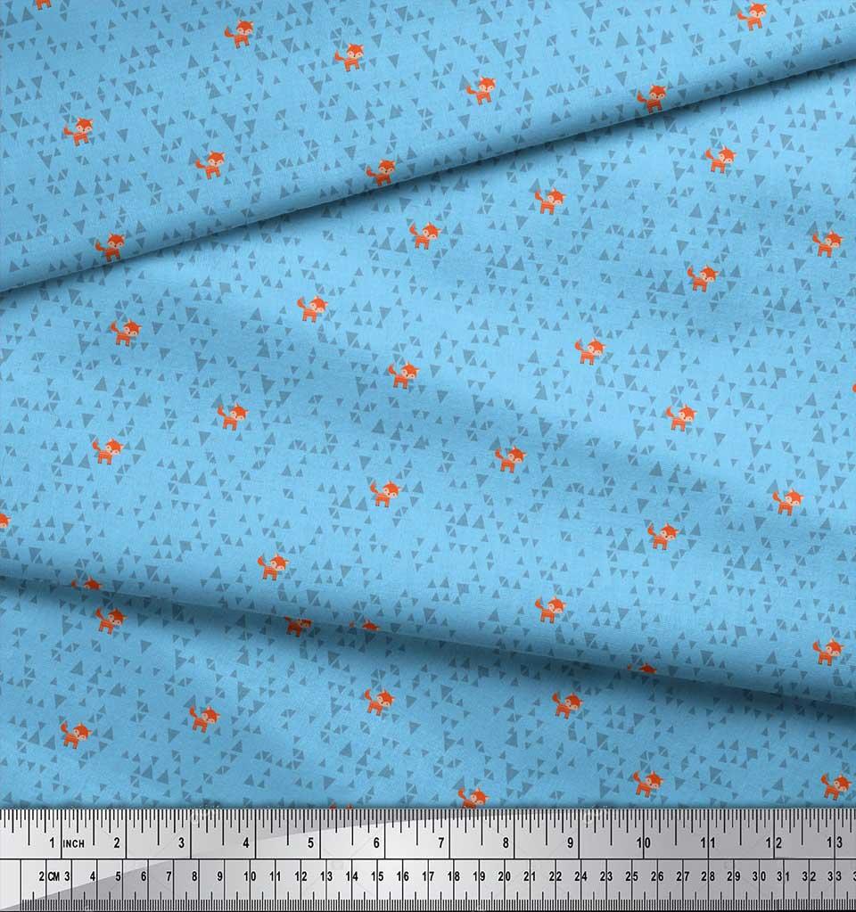 Soimoi-Blue-Cotton-Poplin-Fabric-Fox-amp-Geometric-Kids-Printed-Fabric-kri thumbnail 4