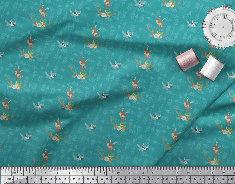 Soimoi-Green-Cotton-Poplin-Fabric-Arrow-amp-Reindeer-Kids-Print-Fabric-98R thumbnail 3