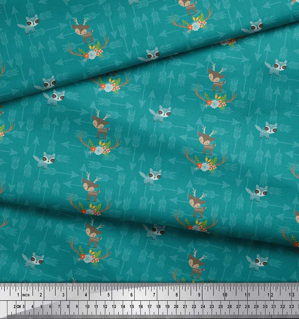 Soimoi-Green-Cotton-Poplin-Fabric-Arrow-amp-Reindeer-Kids-Print-Fabric-98R thumbnail 4