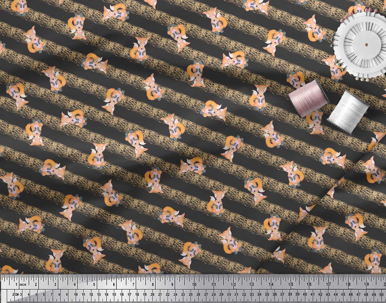 Soimoi-Black-Cotton-Poplin-Fabric-Fox-amp-Stripes-Kids-Decor-Fabric-eg7 thumbnail 3