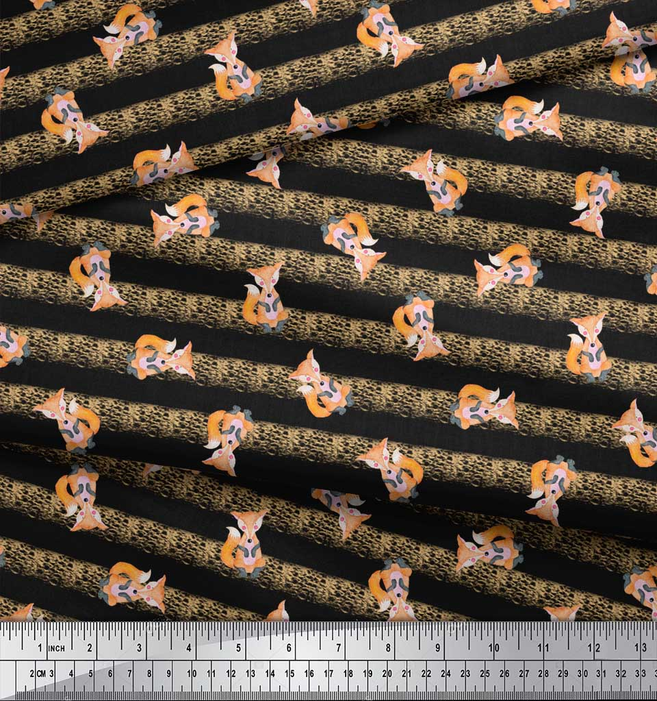 Soimoi-Black-Cotton-Poplin-Fabric-Fox-amp-Stripes-Kids-Decor-Fabric-eg7 thumbnail 4