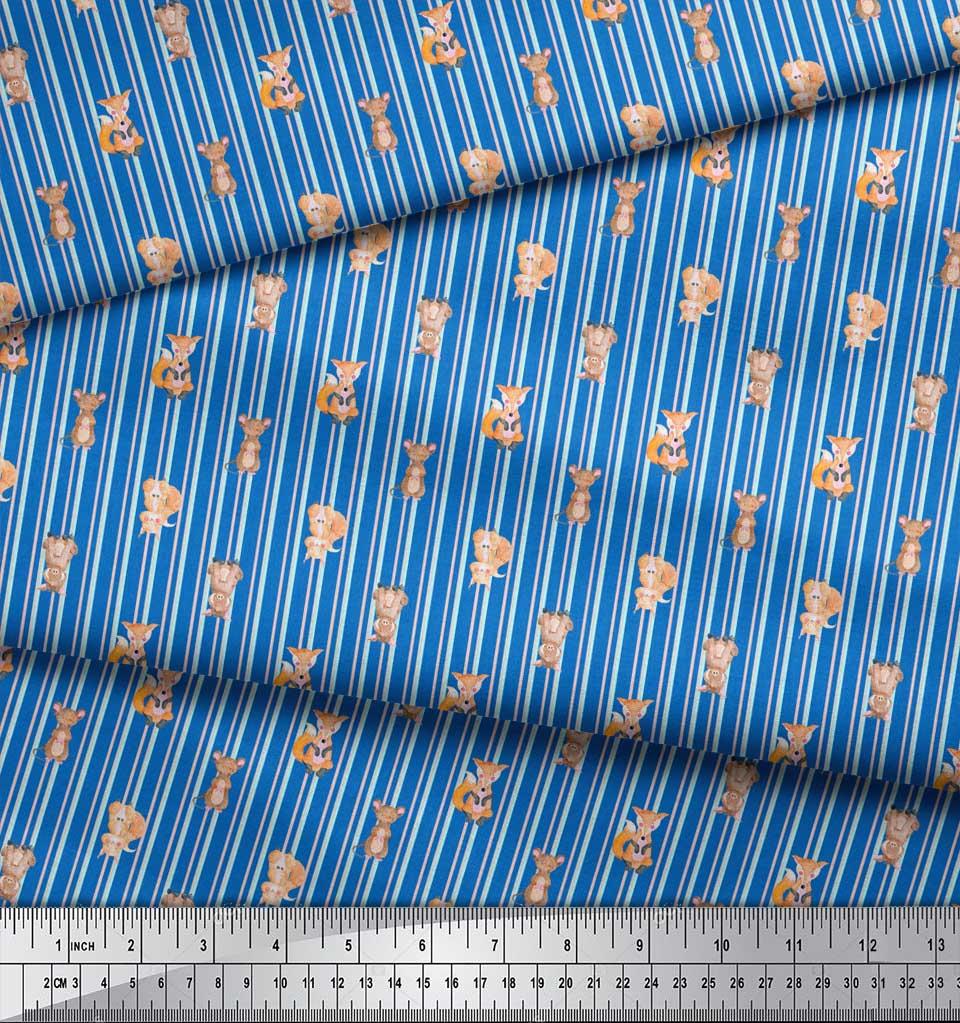 Soimoi-Blue-Cotton-Poplin-Fabric-Stripes-amp-Animals-Kids-Print-Fabric-uB8 thumbnail 4