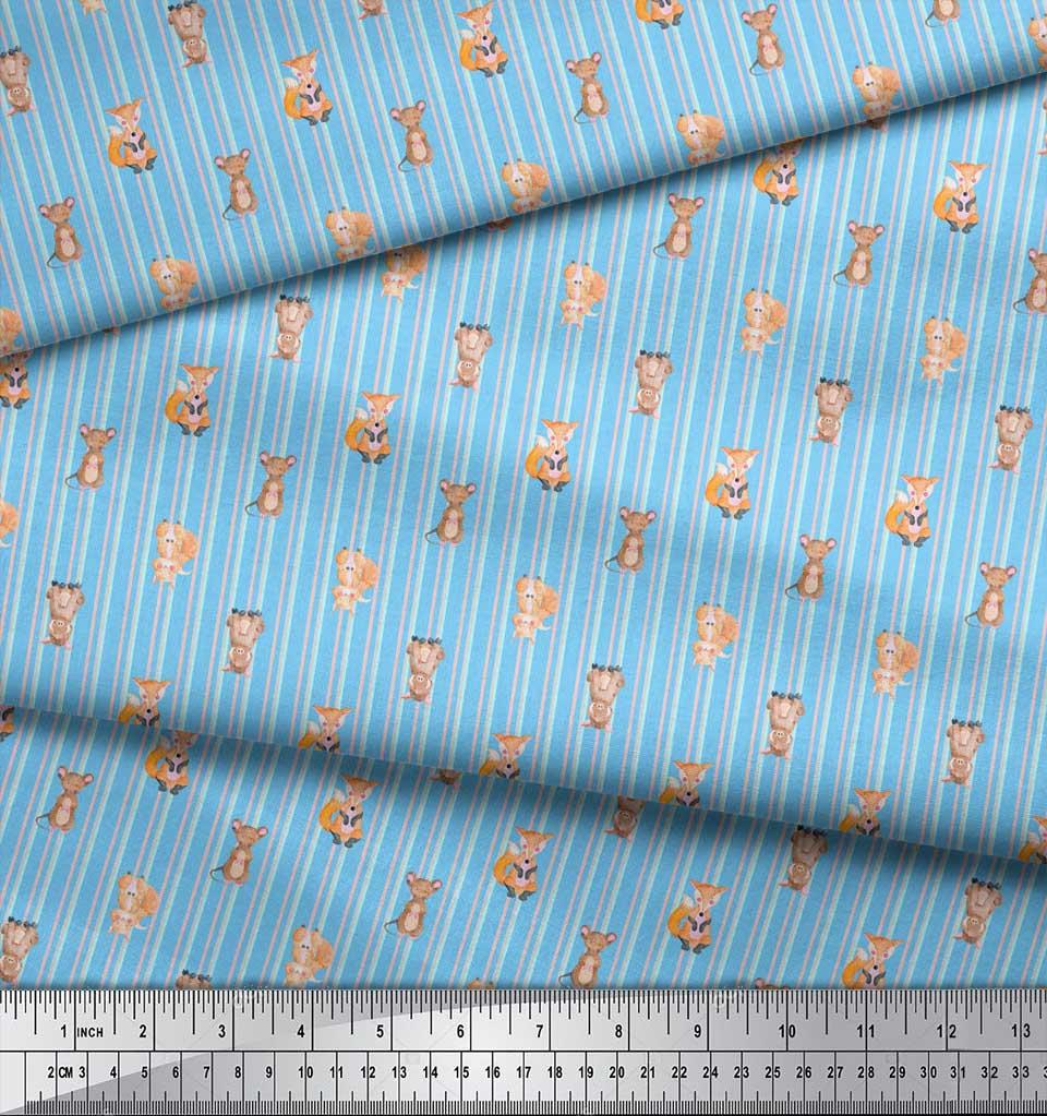 Soimoi-Blue-Cotton-Poplin-Fabric-Stripes-amp-Animals-Kids-Print-Fabric-SPo thumbnail 4