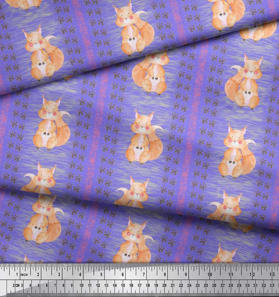 Soimoi-Purple-Cotton-Poplin-Fabric-Paw-Print-amp-Rabbit-Kids-Decor-ACk thumbnail 3
