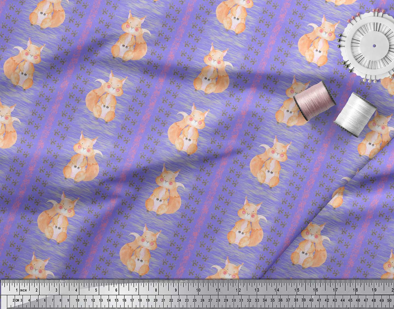 Soimoi-Purple-Cotton-Poplin-Fabric-Paw-Print-amp-Rabbit-Kids-Decor-ACk thumbnail 4