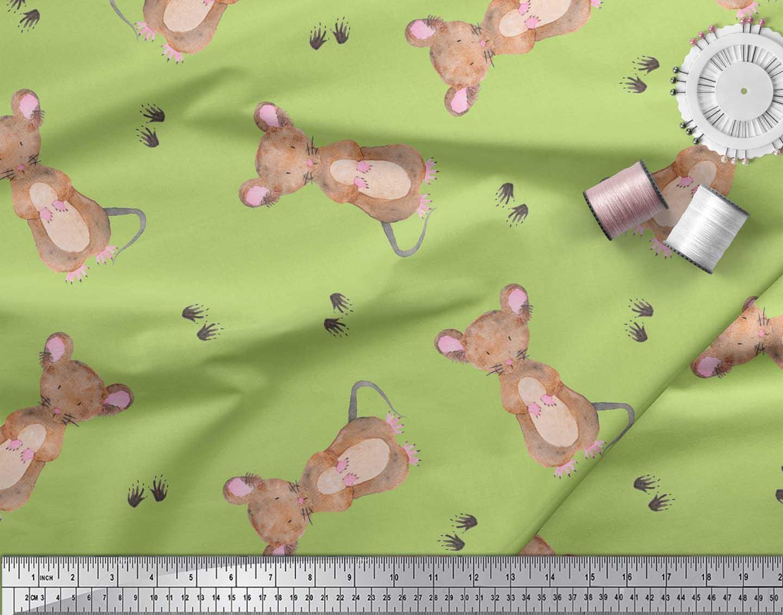 Soimoi-Green-Cotton-Poplin-Fabric-Footprints-amp-Mouse-Kids-Print-17G thumbnail 3