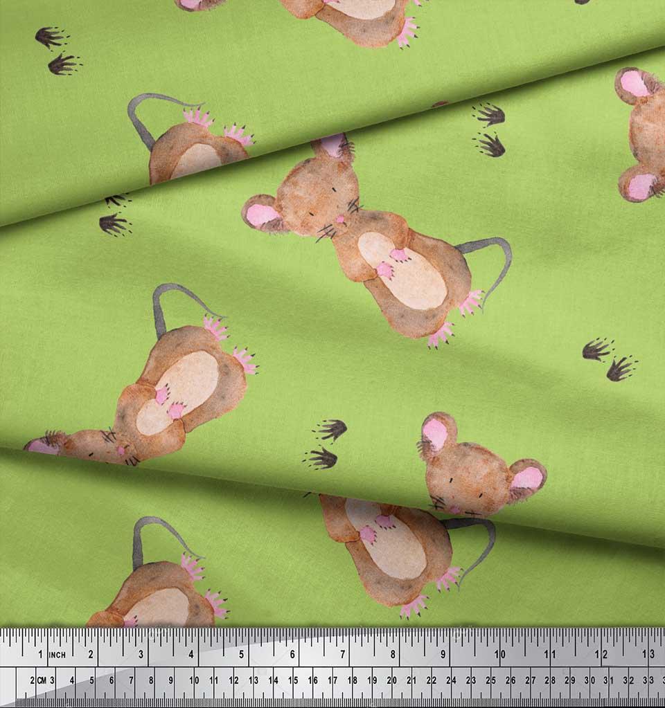 Soimoi-Green-Cotton-Poplin-Fabric-Footprints-amp-Mouse-Kids-Print-17G thumbnail 4