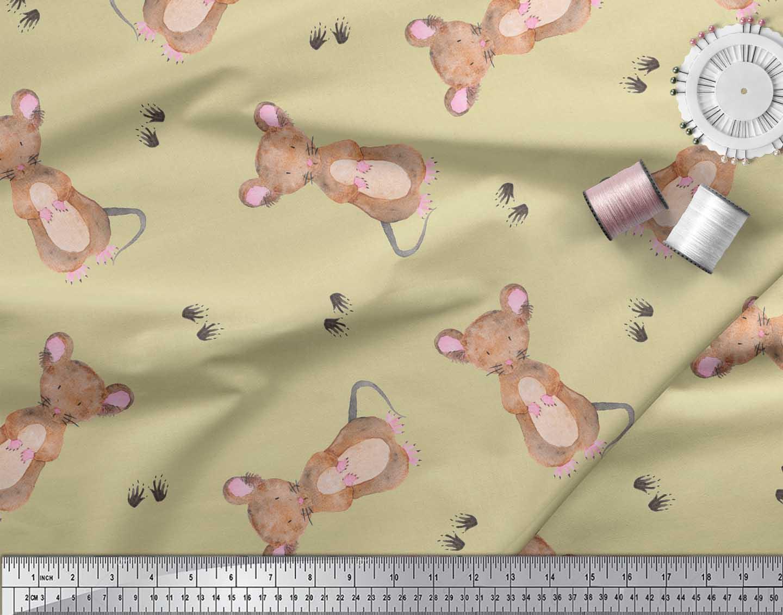 Soimoi-Beige-Cotton-Poplin-Fabric-Footprints-amp-Mouse-Kids-Printed-0qM thumbnail 3