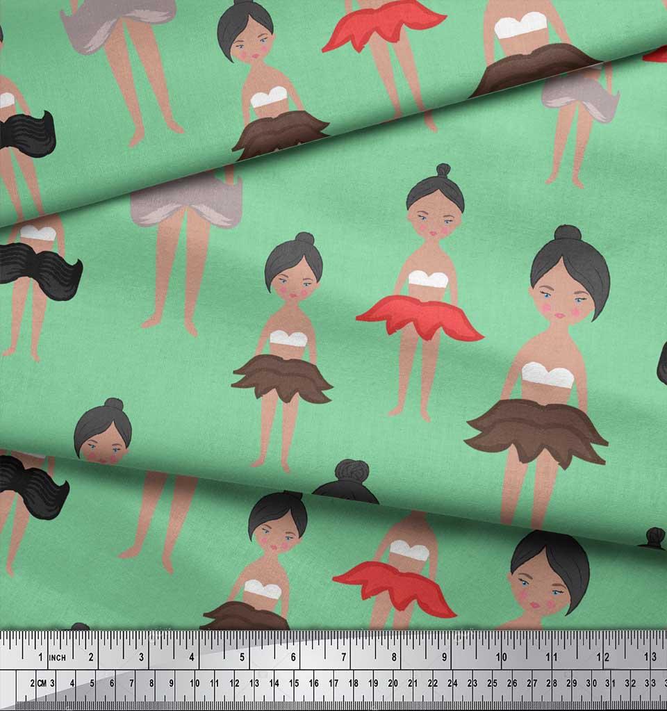 Soimoi-Green-Cotton-Poplin-Fabric-Cute-Dolls-Kids-Printed-Fabric-rmg thumbnail 3