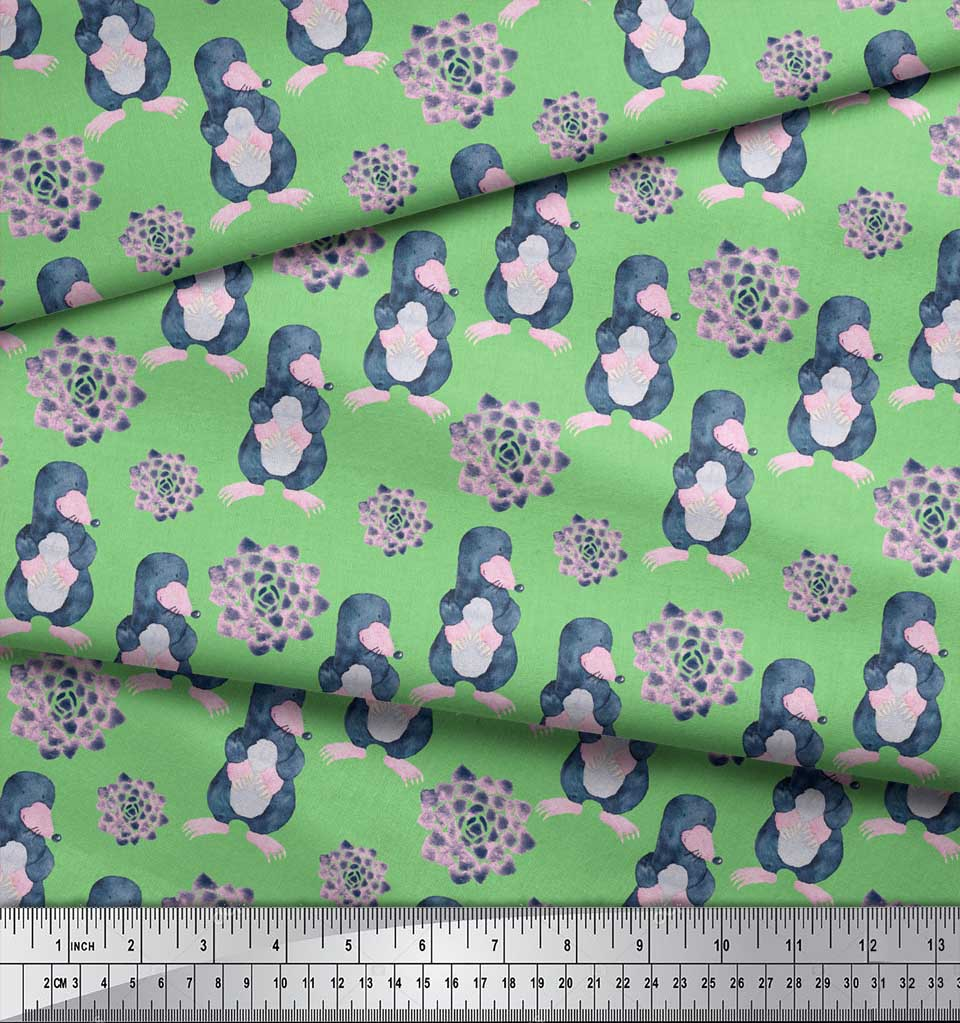 Soimoi-Green-Cotton-Poplin-Fabric-Cute-Animals-Kids-Printed-Fabric-fdQ thumbnail 3
