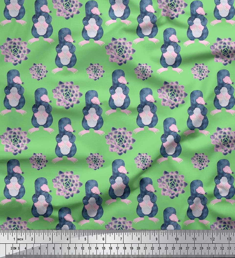 Soimoi-Green-Cotton-Poplin-Fabric-Cute-Animals-Kids-Printed-Fabric-fdQ thumbnail 2