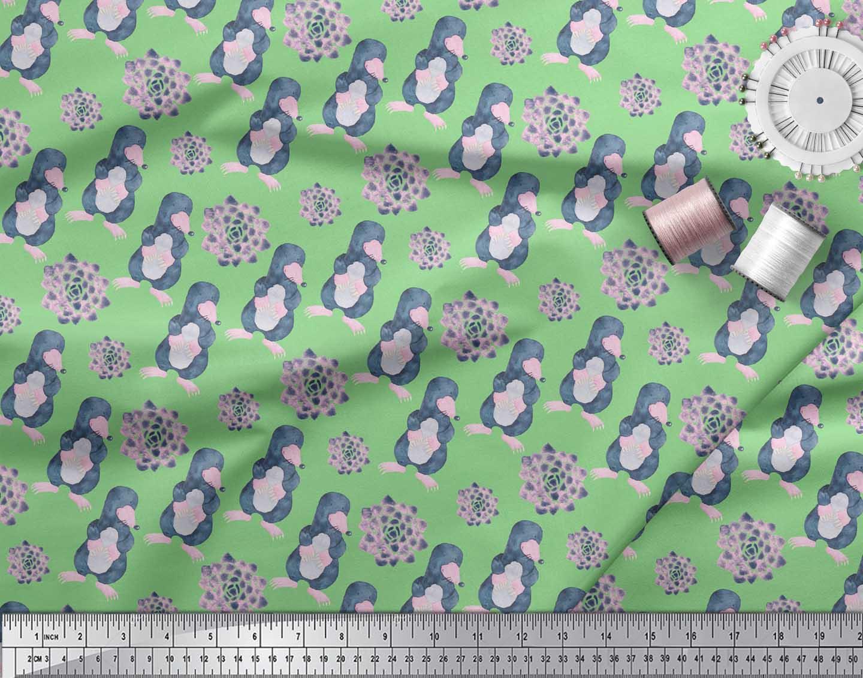 Soimoi-Green-Cotton-Poplin-Fabric-Cute-Animals-Kids-Printed-Fabric-fdQ thumbnail 4