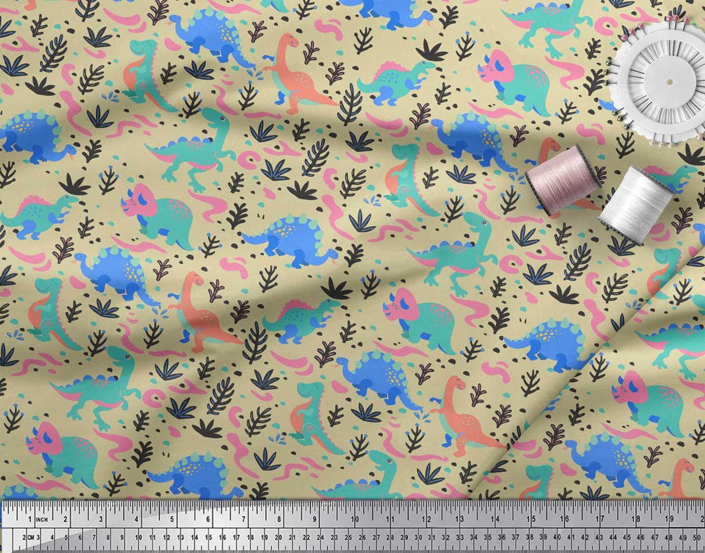 Soimoi-Beige-Cotton-Poplin-Fabric-Dinosaurs-amp-Leaves-Kids-Decor-FWq thumbnail 3