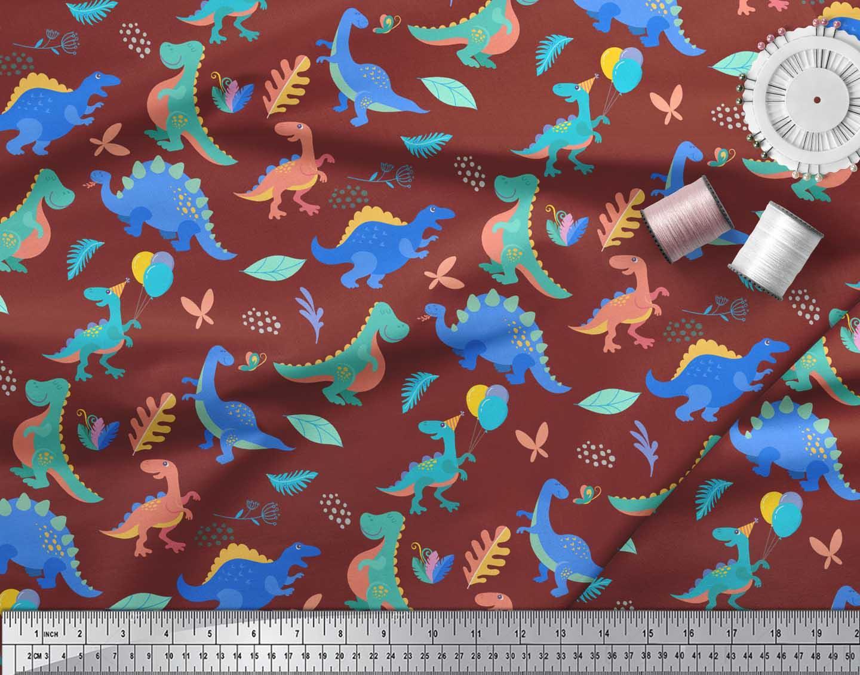 Soimoi-Red-Cotton-Poplin-Fabric-Balloon-amp-Dinosaur-Kids-Print-Fabric-8bk thumbnail 4