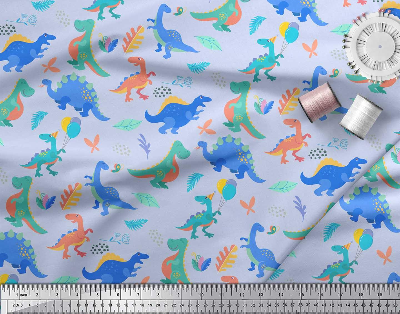 Soimoi-Blue-Cotton-Poplin-Fabric-Balloon-amp-Dinosaur-Kids-Print-Fabric-bWE thumbnail 3