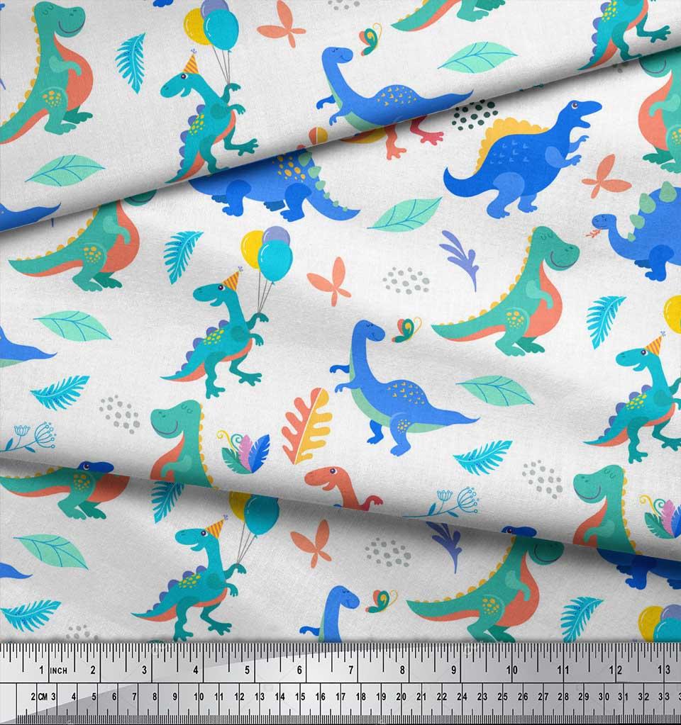 Soimoi-White-Cotton-Poplin-Fabric-Balloon-amp-Dinosaur-Kids-Printed-HE1 thumbnail 3