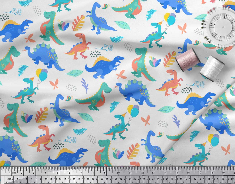 Soimoi-White-Cotton-Poplin-Fabric-Balloon-amp-Dinosaur-Kids-Printed-HE1 thumbnail 4