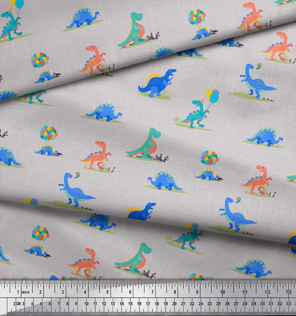 Soimoi-Gray-Cotton-Poplin-Fabric-Balloon-amp-Dinosaur-Kids-Printed-BMS thumbnail 4