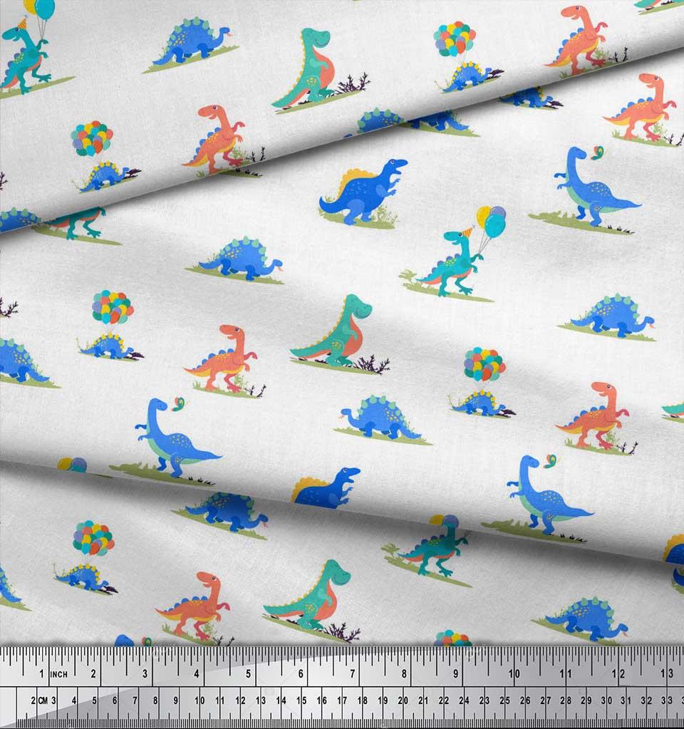 Soimoi-White-Cotton-Poplin-Fabric-Balloon-amp-Dinosaur-Kids-Decor-2K4 thumbnail 3