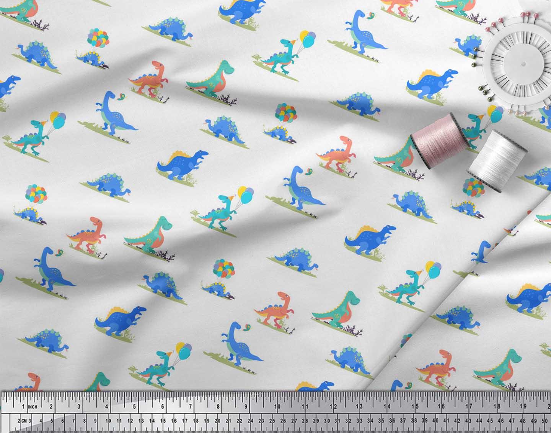 Soimoi-White-Cotton-Poplin-Fabric-Balloon-amp-Dinosaur-Kids-Decor-2K4 thumbnail 4