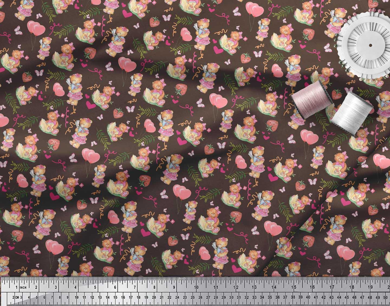 Soimoi-Brown-Cotton-Poplin-Fabric-Balloon-amp-Teddy-Bear-Kids-Print-qrx thumbnail 3