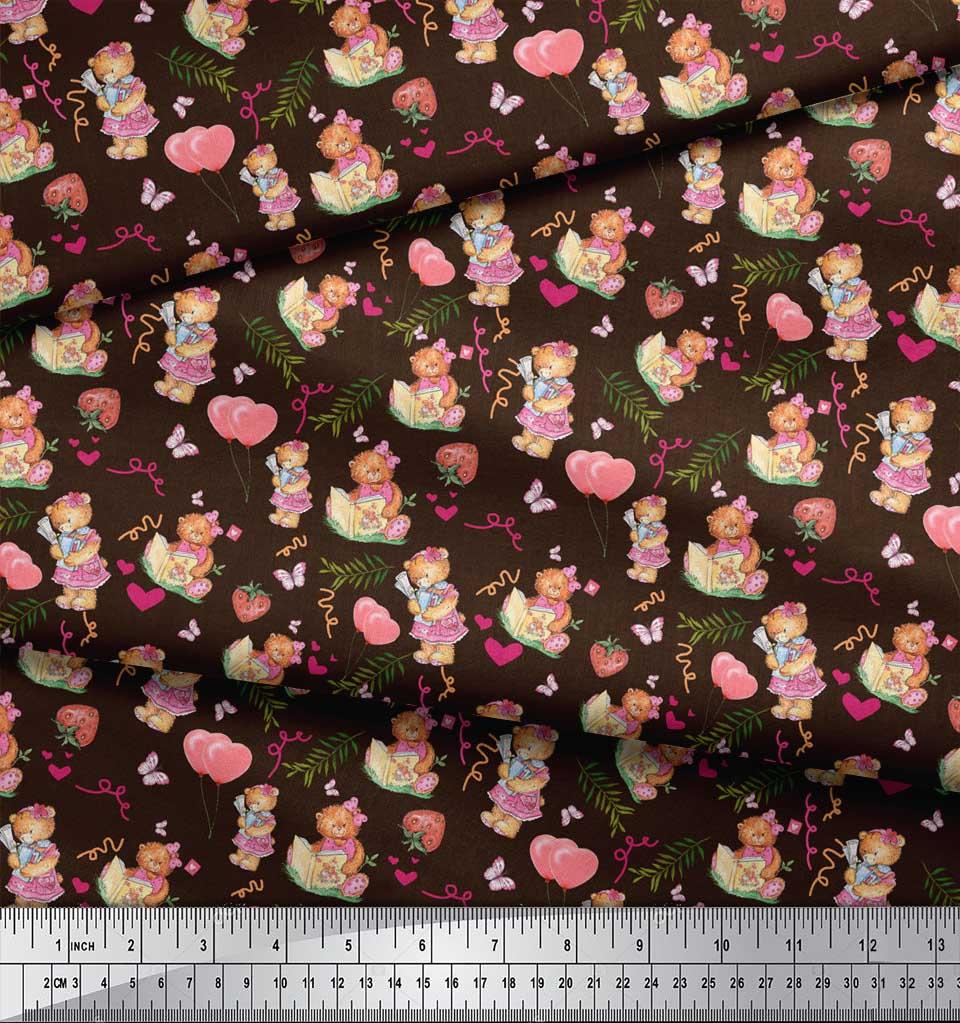 Soimoi-Brown-Cotton-Poplin-Fabric-Balloon-amp-Teddy-Bear-Kids-Print-qrx thumbnail 4
