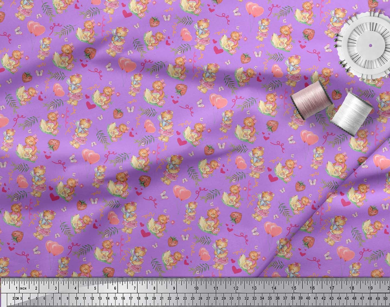 Soimoi-Purple-Cotton-Poplin-Fabric-Balloon-amp-Teddy-Bear-Kids-Print-PcY thumbnail 3
