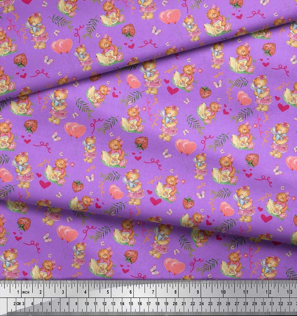Soimoi-Purple-Cotton-Poplin-Fabric-Balloon-amp-Teddy-Bear-Kids-Print-PcY thumbnail 4