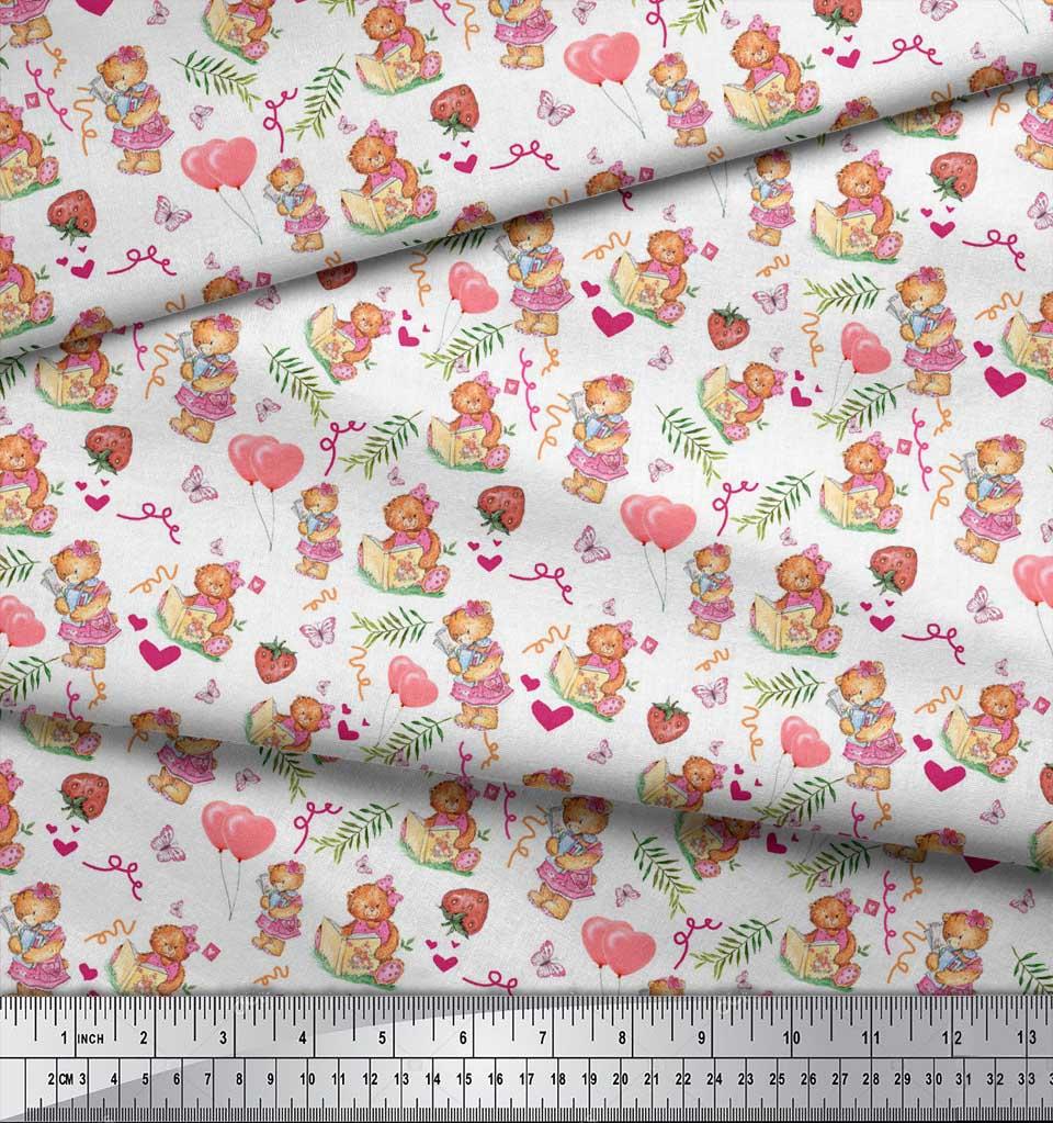 Soimoi-White-Cotton-Poplin-Fabric-Balloon-amp-Teddy-Bear-Kids-Fabric-uIn thumbnail 3