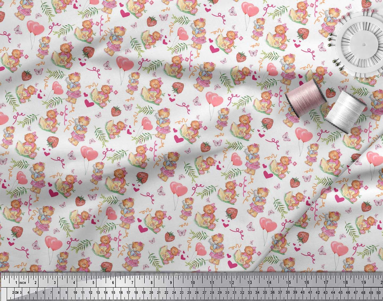 Soimoi-White-Cotton-Poplin-Fabric-Balloon-amp-Teddy-Bear-Kids-Fabric-uIn thumbnail 4