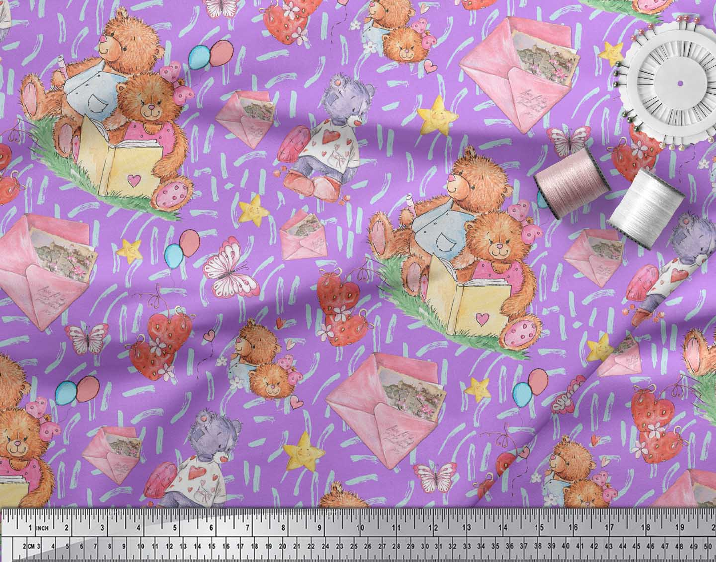 Soimoi-Purple-Cotton-Poplin-Fabric-Teddy-Bear-amp-Hearts-Kids-Print-CR5 thumbnail 4