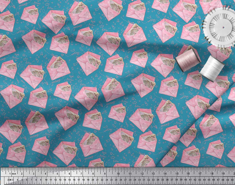 Soimoi-Blue-Cotton-Poplin-Fabric-Text-amp-Envelope-Kids-Printed-Craft-JbP thumbnail 3