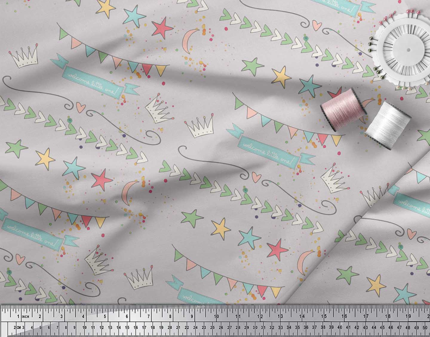Soimoi-Gray-Cotton-Poplin-Fabric-Welcome-Little-One-Kids-Fabric-yma thumbnail 3