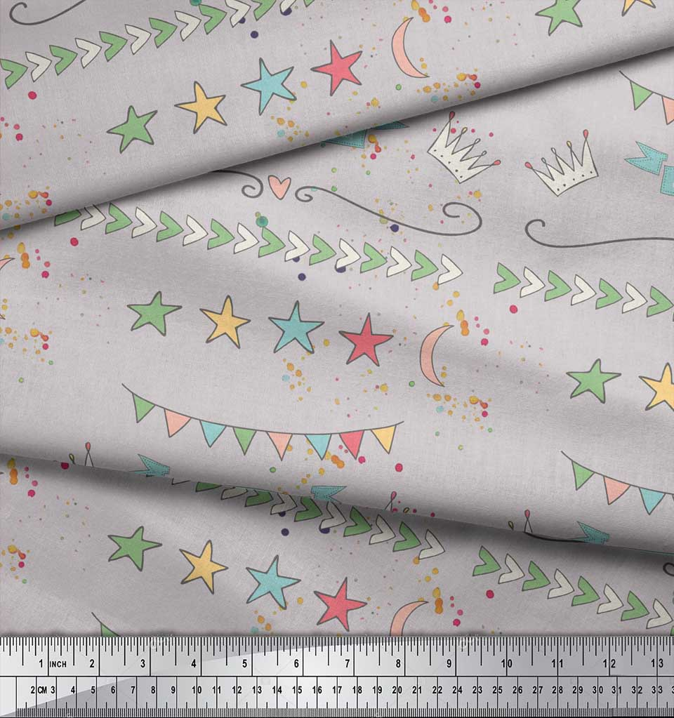 Soimoi-Gray-Cotton-Poplin-Fabric-Welcome-Little-One-Kids-Fabric-yma thumbnail 4