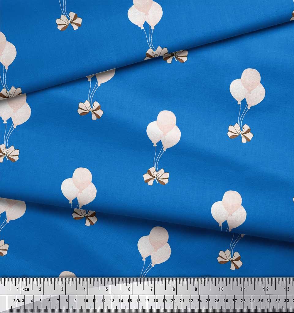 Soimoi-Blue-Cotton-Poplin-Fabric-Bow-amp-Balloon-Kids-Decor-Fabric-kon thumbnail 3