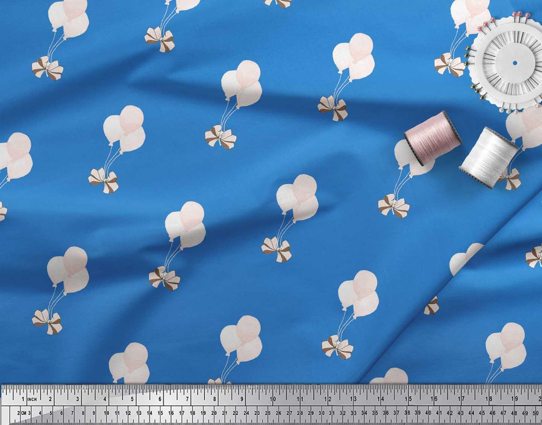 Soimoi-Blue-Cotton-Poplin-Fabric-Bow-amp-Balloon-Kids-Decor-Fabric-kon thumbnail 4