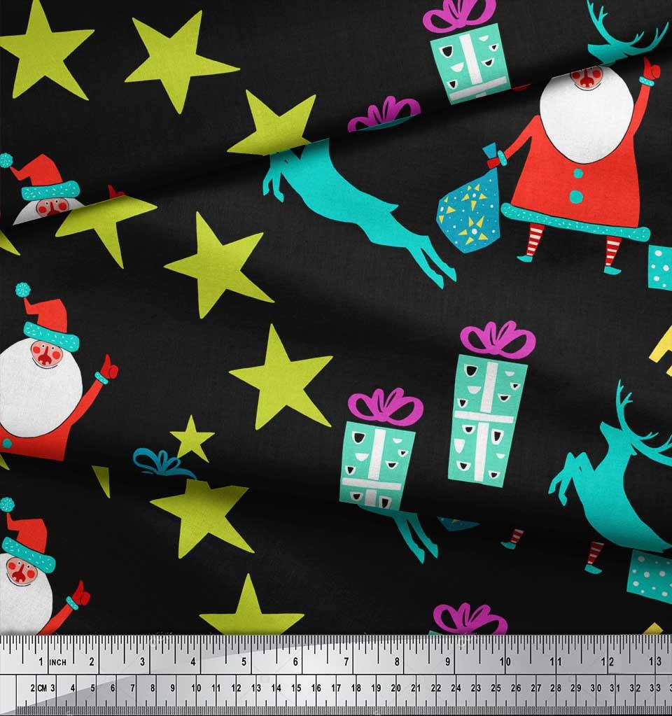 Soimoi-Black-Cotton-Poplin-Fabric-Santa-amp-Gifts-Kids-Decor-Fabric-rzC thumbnail 3