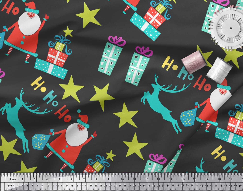 Soimoi-Black-Cotton-Poplin-Fabric-Santa-amp-Gifts-Kids-Decor-Fabric-rzC thumbnail 4