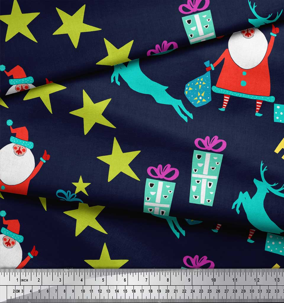Soimoi-Blue-Cotton-Poplin-Fabric-Santa-amp-Gifts-Kids-Fabric-Prints-x3R thumbnail 3