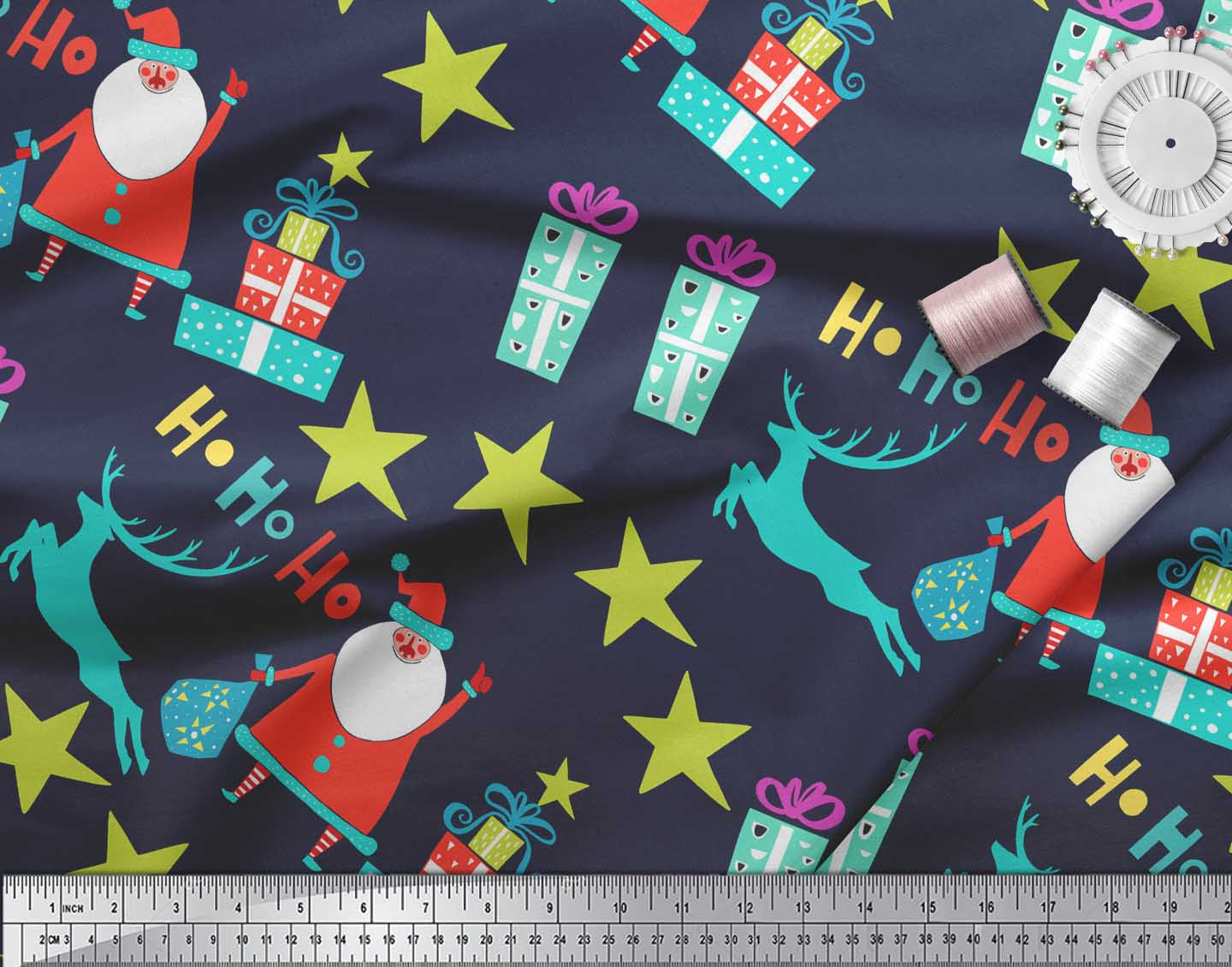 Soimoi-Blue-Cotton-Poplin-Fabric-Santa-amp-Gifts-Kids-Fabric-Prints-x3R thumbnail 4