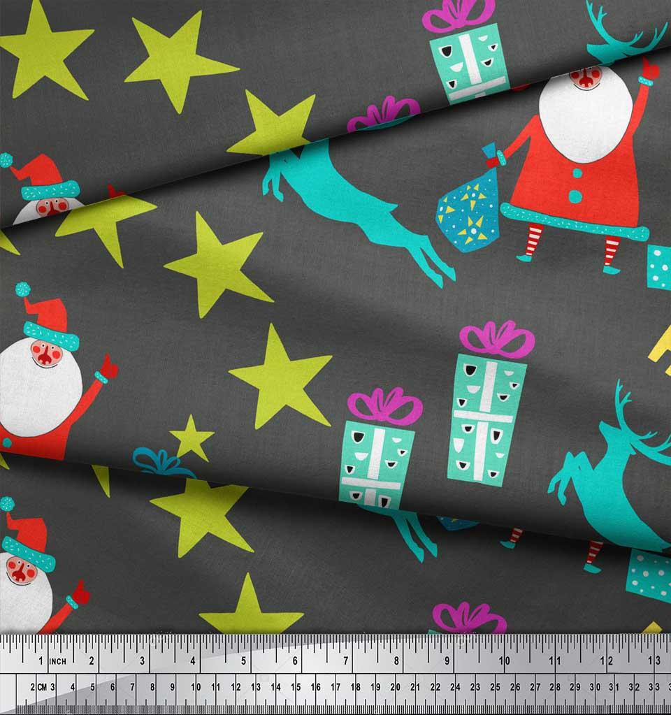 Soimoi-Gray-Cotton-Poplin-Fabric-Santa-amp-Gifts-Kids-Fabric-Prints-UoZ thumbnail 3