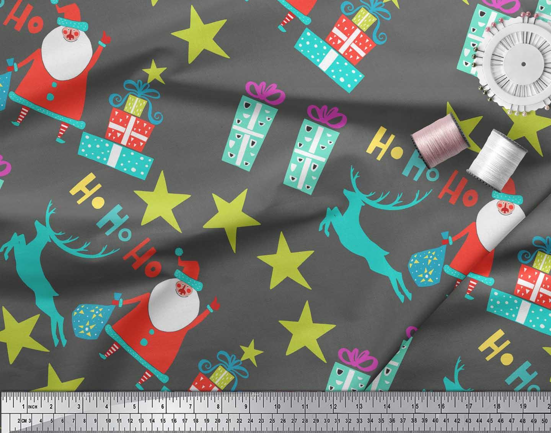 Soimoi-Gray-Cotton-Poplin-Fabric-Santa-amp-Gifts-Kids-Fabric-Prints-UoZ thumbnail 4