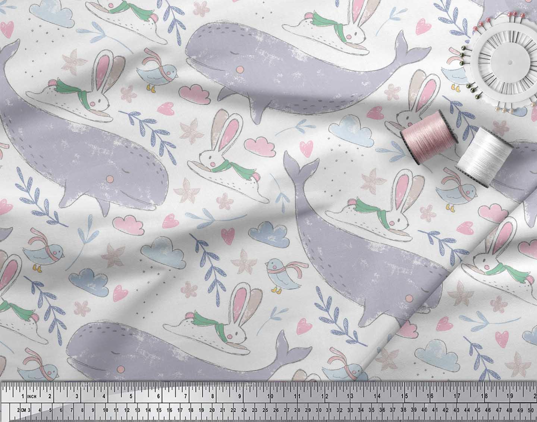 Soimoi-White-Cotton-Poplin-Fabric-Cute-Animals-Kids-Printed-Craft-5MI thumbnail 3