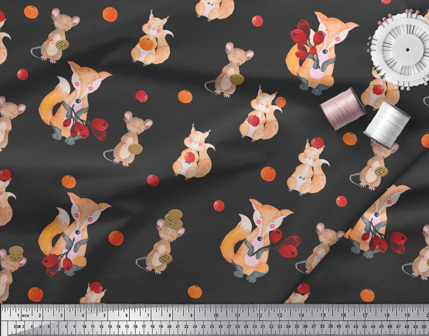 Soimoi-Black-Cotton-Poplin-Fabric-Fox-amp-Bunny-Kids-Print-Fabric-Z0m thumbnail 3