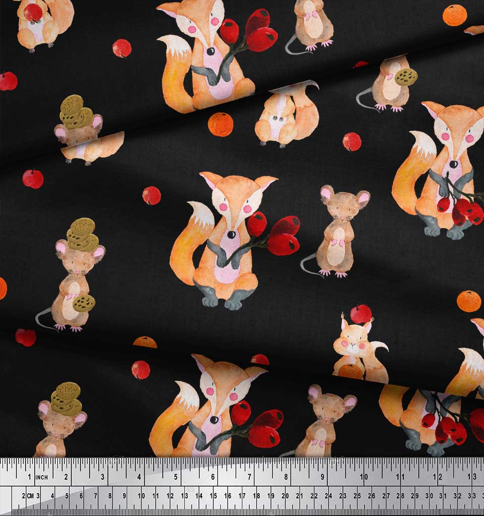 Soimoi-Black-Cotton-Poplin-Fabric-Fox-amp-Bunny-Kids-Print-Fabric-Z0m thumbnail 4