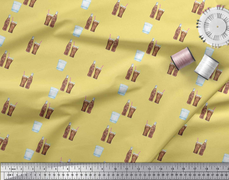 Soimoi-Yellow-Cotton-Poplin-Fabric-Bottle-amp-Glass-Kitchen-Printed-T5A thumbnail 3