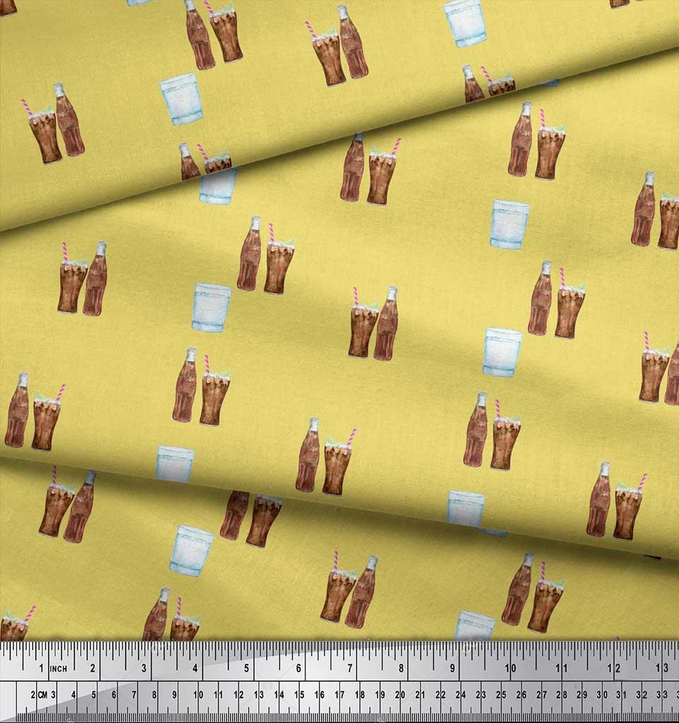 Soimoi-Yellow-Cotton-Poplin-Fabric-Bottle-amp-Glass-Kitchen-Printed-T5A thumbnail 4